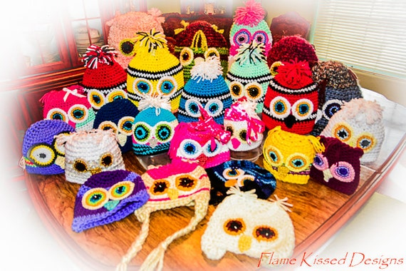 WISE OWL CLUB. Hand Crocheted Owl Hats