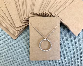 50 Kraft Necklace Display Cards BROWN