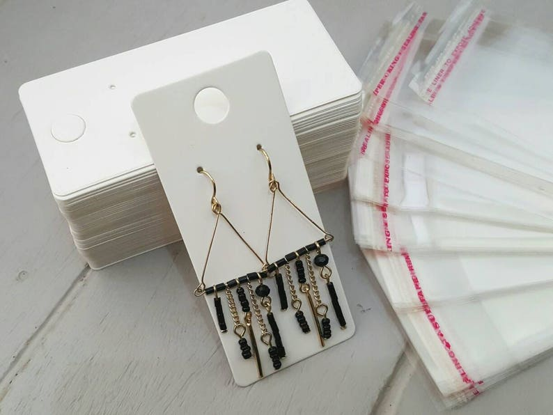 50 WHITE Earring Display Cards 4x9cm bags not included