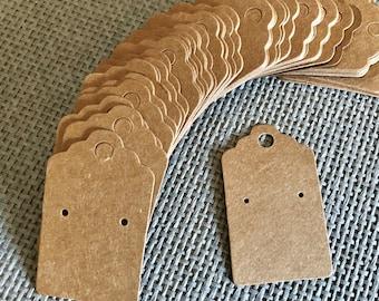 50 Kraft Earring Display Cards Brown Scalloped Edge 3x5cm