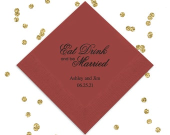 set of 50 Eat Drink and Be Married Personalized Mason Jar Light Burlap Kraft Paper Wedding Dinner Napkins in Navy ink