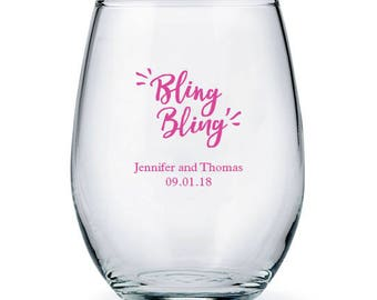 6c8d9713aa8 Custom Large Stemless Wine Glasses - Bling Bling Design - Personalized Drinking  Glass - Personalized Party Glasses - Wedding Glasses - Favor