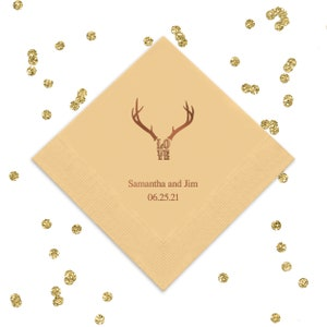 Deer Antlers and Initial Beverage Napkins Wedding Decor Fun Wedding Party Gifts Wedding Anniversary Party Gifts Custom Beverage 1D310