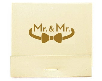 Set of 50 Gay Wedding Matchbooks - Mr and Mr Wedding Matchbook - Personalized Wedding Matchbook - Wedding Favor - Wooden Matches - Bow Tie