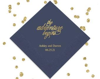 Set of 100 The Adventure Begins Napkins - Paper Wedding Napkin - Personalized Napkins - Wedding Napkins - Printed Wedding Napkins