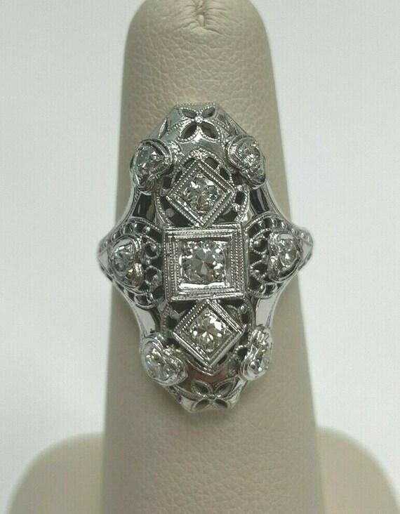 Antique 18k White Gold Diamond Ring Size 5 1/2