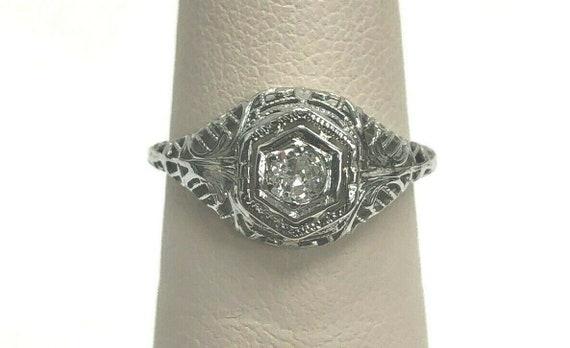 Antique 10k Diamond Filigree Engagement Ring Size
