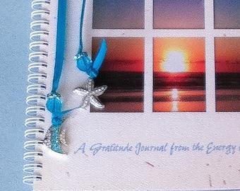 Gratitude Journal with Rhinestone Bling Charm, Beach Journal, Ocean Guest Book, Seashore Guest Book, Wedding Guest Book, Seashore Journal