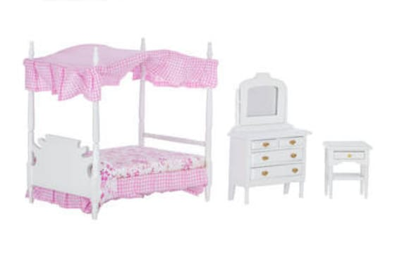 Miniature Canopy Bedroom Set. Pink and White Canopy Bedding Set.