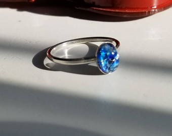 Petite Dragons Breath Blue Fire 8x6 Opal (GLASS CABOCHON) ring. sterling silver, Size  8 US