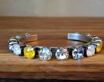 Pansies: 8.5mm Swarovski Crystal Cuff