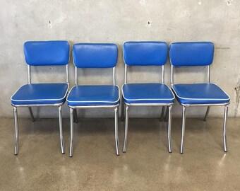 Set of Four Blue u0026 Chrome Vintage Retro Kitchen Chairs (YTP8PT) & Chrome chair | Etsy