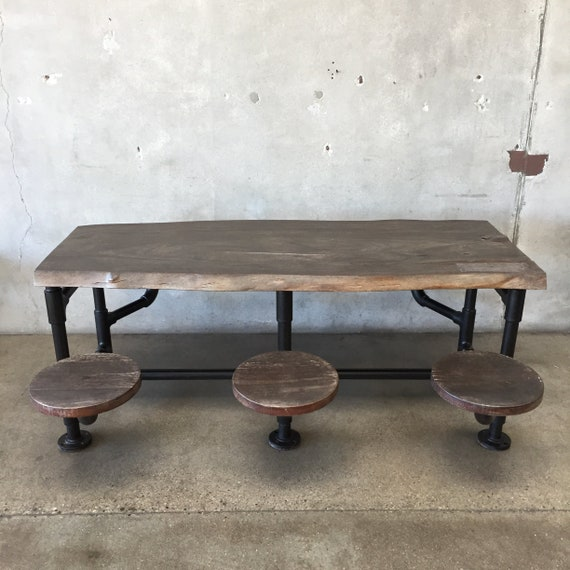 Industrial Dining Table With Attached Stools C6ydgz Etsy