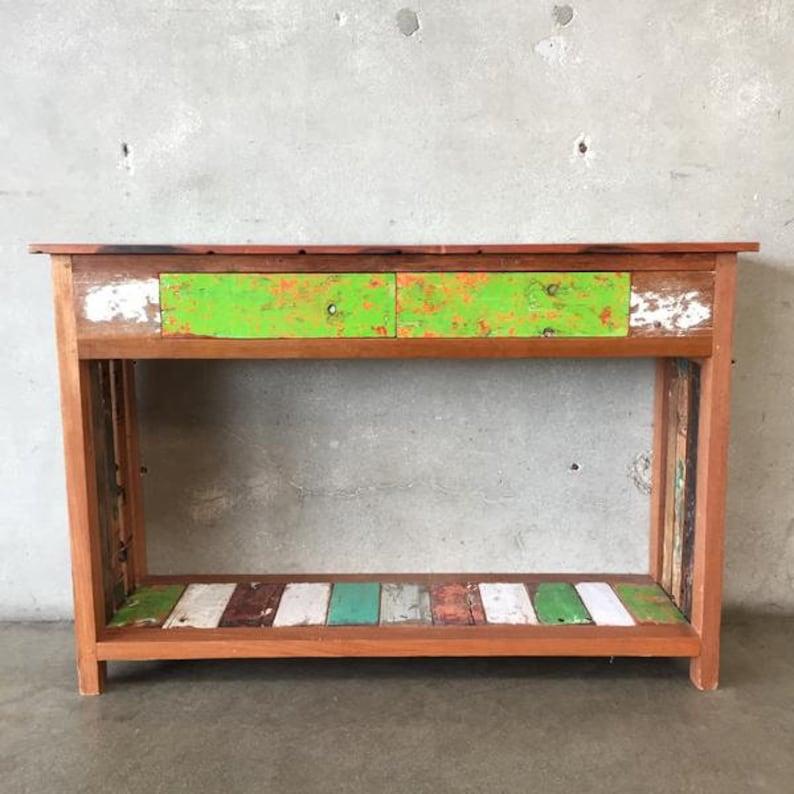 Pleasing Reclaimed Teak Wood Console Table With Two Drawers Inzonedesignstudio Interior Chair Design Inzonedesignstudiocom