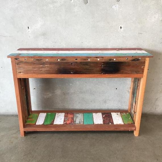 Brilliant Reclaimed Teak Wood Console Table With Two Drawers Inzonedesignstudio Interior Chair Design Inzonedesignstudiocom
