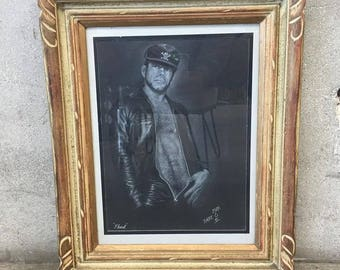 "Leather Boy"" by Local Long Beach Artist. White Charcoal on Black Board (J71F9B)"