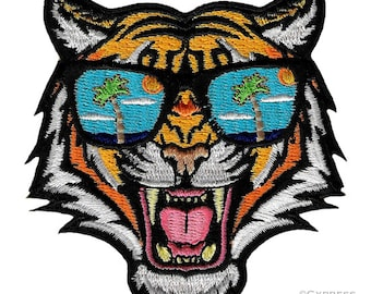 fe2081bf350a1 BENGAL TIGER Sunglasses PATCH embroidered iron-on Jungle Safari Souvenir  Wild Animal Roaring