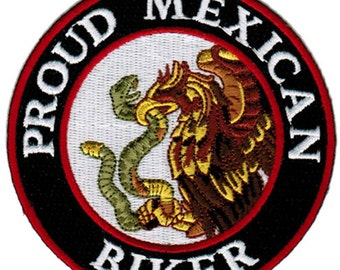 MEXICO Flag Iron-On Patch Tactical Morale MEXICAN Emblem Gold Border II