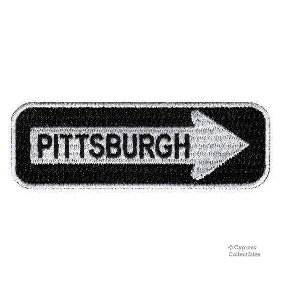 Pittsburgh Road Sign Patch Embroidered Iron On One Way Highway Etsy