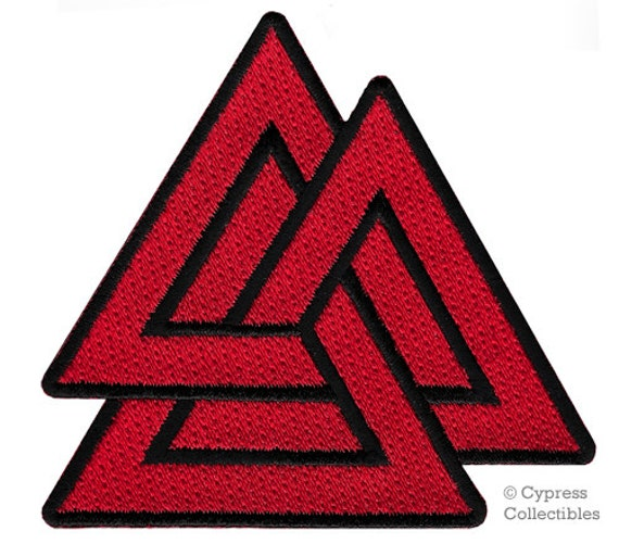 VIKING COMPASS PATCH Vegvisir IRON-ON EMBROIDERED ICELANDIC NORSE RUNE RED