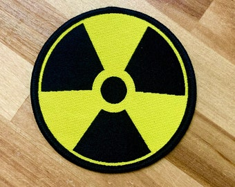 NUCLEAR SYMBOL PATCH embroidered iron-on zombie symbol warning sign Yellow applique