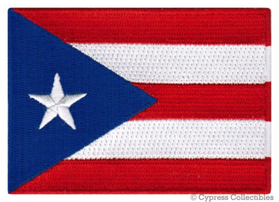 Puerto Rico bandera termoadhesivos bordados apliq 5,2x7,3cm Parches rojo