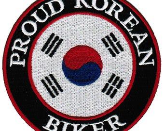 PROUD KOREAN BIKER patch embroidered iron-on applique South Korea Flag