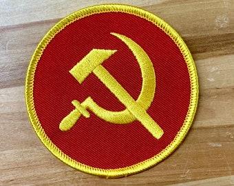 COMMUNIST Hammer and Sickle Patch USSR CCCP Russia Soviet Union embroidered shoulder emblem applique