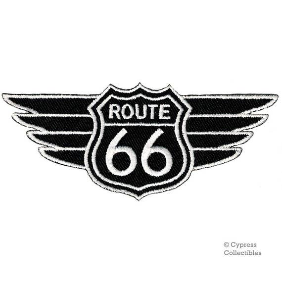 IRON-ON APPLIQUE Highway Road Sign Biker MISSOURI ROUTE 66 EMBROIDERED PATCH