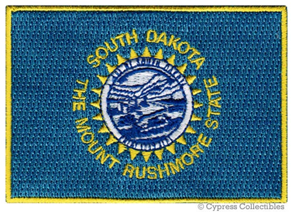 """NEW  3.5/"""" SOUTH DAKOTA STATE SHIELD FLAG EMBROIDERED PATCH IRON-ON"""