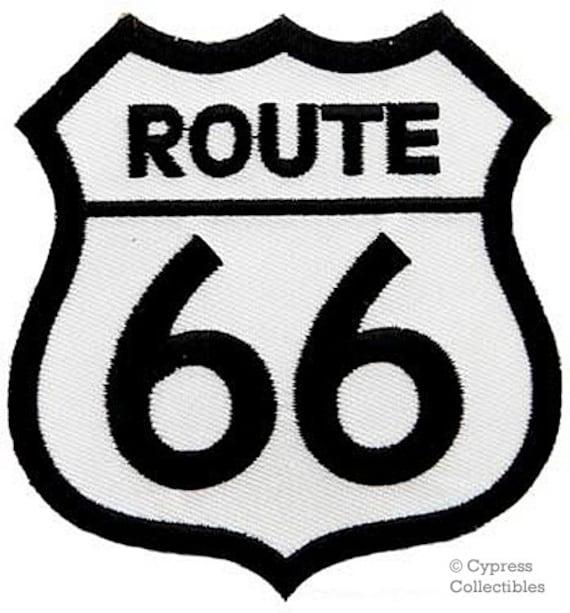 ROUTE SKULL /& CROSSBONES Iron On Patch Highway Biker Road Sign Historic