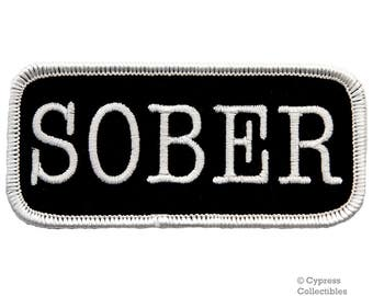 SOBER BIKER PATCH iron-on embroidered applique nametag motorcycle emblem saying Alcoholics Anonymous