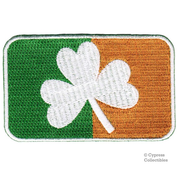 Erin Go Bragh Flag Embroidered Patch Irish Iron-On Ireland Clover Shamrock Emblem