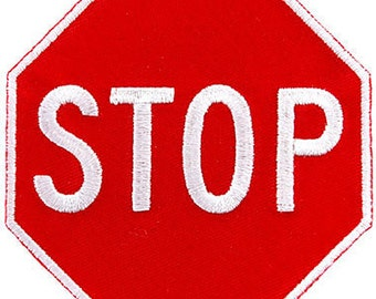 RED STOP SIGN patch embroidered iron-on applique Highway Traffic Sign Road Emblem Biker Symbol