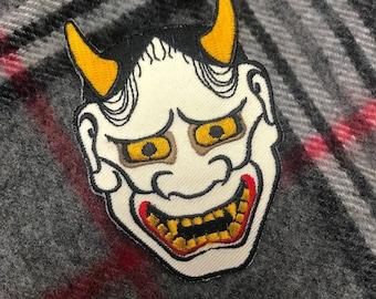 HANNYA MASK PATCH Embroidered Iron-On applique Japanese Kabuki Noh Tattoo Devil Evil Irezumi Horimono Emblem