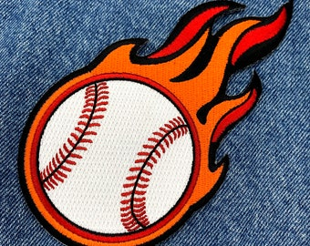 FLAMING BASEBALL PATCH iron-on embroidered applique major league sports emblem Fastball