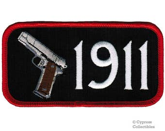 1911 PISTOL GUN PATCH Black iron-on embroidered 2nd Second Amendment Rights Semi-Automatic applique
