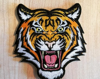 BENGAL TIGER PATCH iron-on embroidered wild animal roaring applique