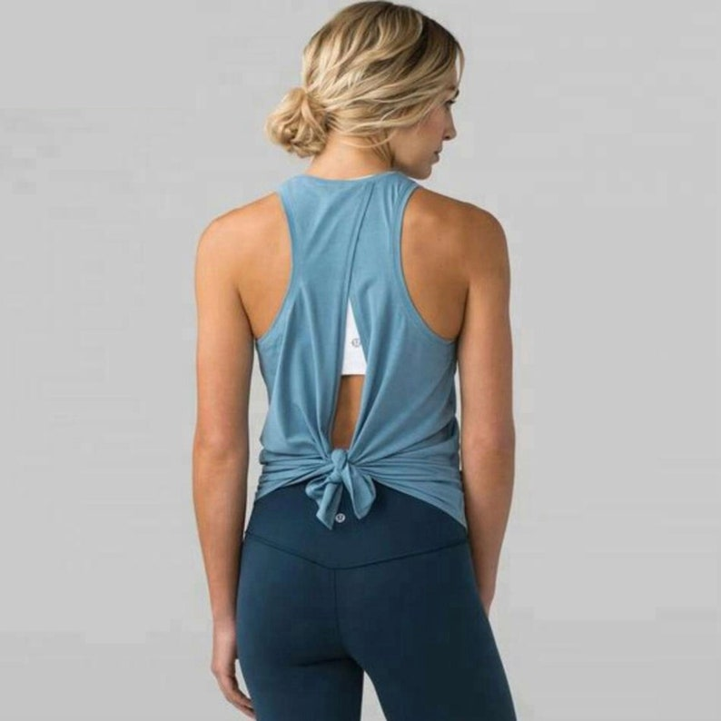 a08228d31442c Cool Breeze Open Back Tied Tank Top Workout Tank Knotted