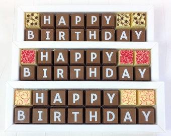 HAPPY BIRTHDAY Box of Chocolates - Happy Birthday Chocolates - Birthday Message in Chocolates - Milk Chocolates - Dark Chocolates