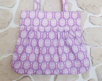 """""""Casa Blanca"""" printed pink and purple bag + pouch"""