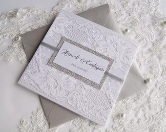 Elegante Hochzeitseinladung, Spitze Hochzeitseinladung, Weiße  Hochzeitseinladung, Glitter Hochzeitseinladung, Silberne Hochzeit Einladung  Winter