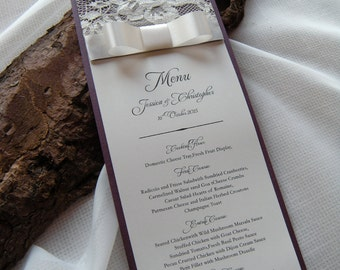 Classic Wedding Menu, Lace Wedding Menu, Wedding Menu