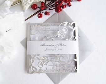 Grey Wedding Invitation, Laser Cut Wedding Invitation, Silver Wedding Invite, Lace Wedding Invitation with Envelopes