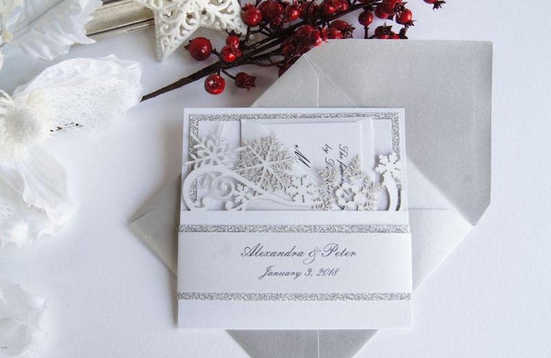 Winter Wedding Invitation Snowflake Wedding Invite Snowflake Etsy