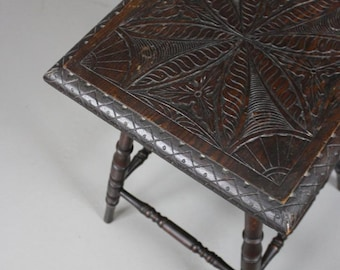 Carved Square Occasional Table