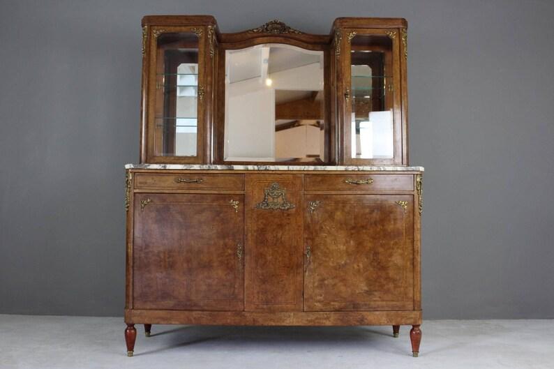 Antique French Burr Walnut Marble Vitrine Etsy