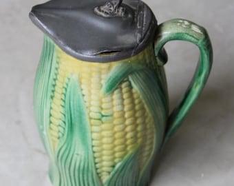 Majolica Corn Pewter Jug