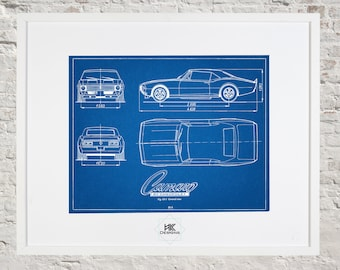 Car blueprint etsy chevy camaro blueprint car decor wall art malvernweather Gallery