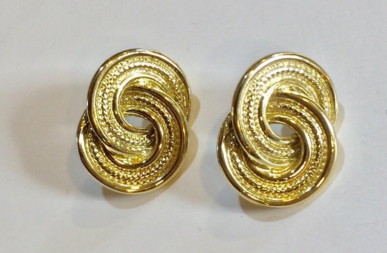 Vintage earrings gold tone metal structured hoops